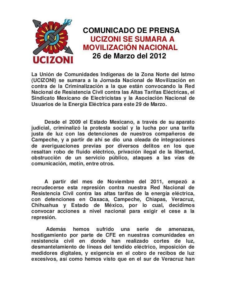 COMUNICADO DE PRENSA                      UCIZONI SE SUMARA A                     MOVILIZACIÓN NACIONAL                   ...