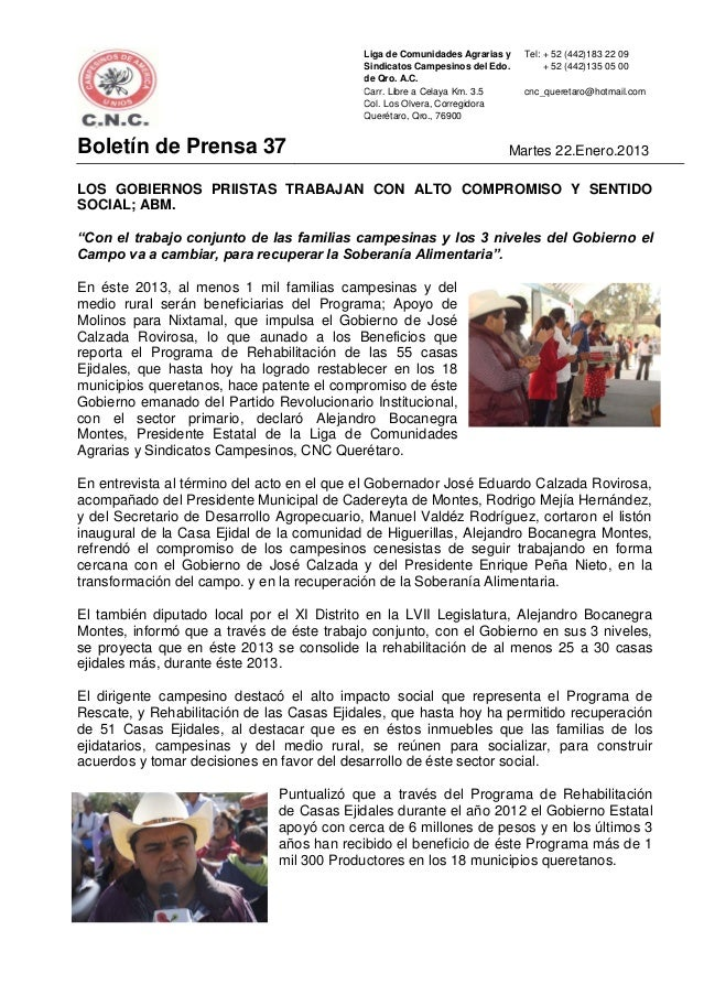 Liga de Comunidades Agrarias y   Tel: + 52 (442)183 22 09                                           Sindicatos Campesinos ...