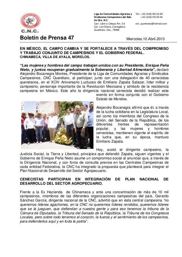 Liga de Comunidades Agrarias y   Tel: + 52 (442)183 22 09                                             Sindicatos Campesino...