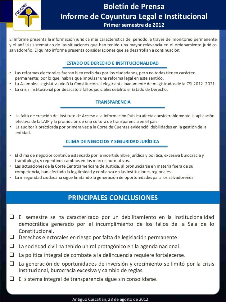 Boletín de Prensa                           Informe de Coyuntura Legal e Institucional                                    ...