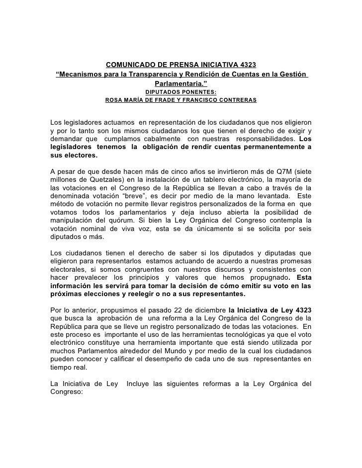"""COMUNICADO DE PRENSA INICIATIVA 4323 """"Mecanismos para la Transparencia y Rendición de Cuentas en la Gestión               ..."""