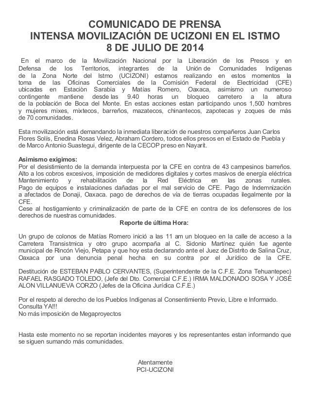 COMUNICADO DE PRENSA INTENSA MOVILIZACIÓN DE UCIZONI EN EL ISTMO 8 DE JULIO DE 2014 En el marco de la Movilización Naciona...