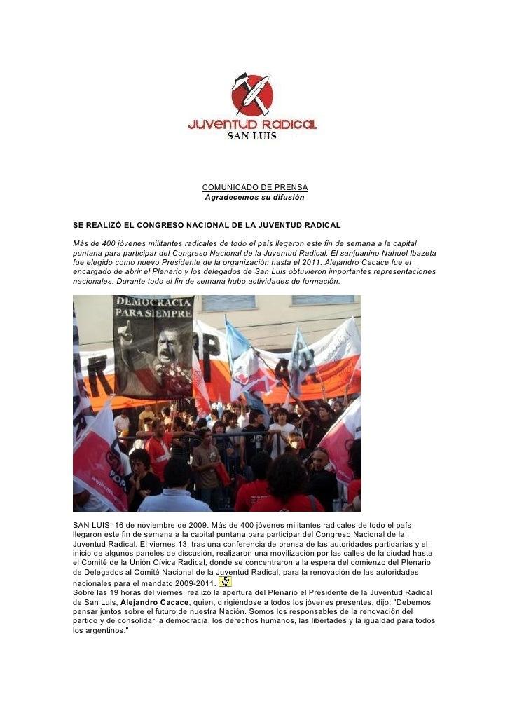 COMUNICADO DE PRENSA                                     Agradecemos su difusión   SE REALIZÓ EL CONGRESO NACIONAL DE LA J...
