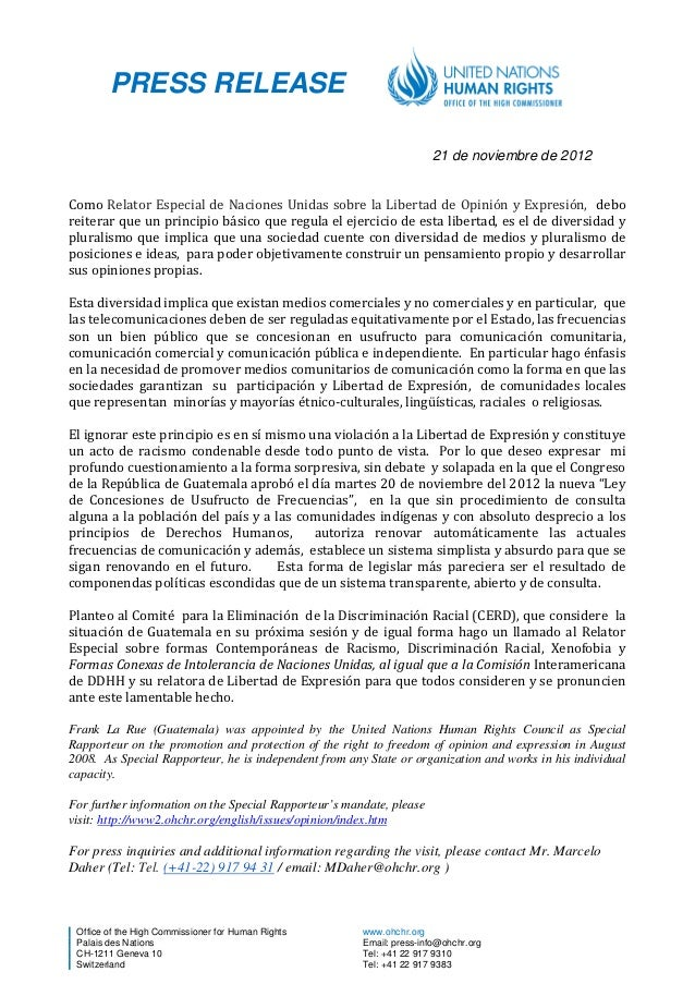 PRESS RELEASE                                                                      21 de noviembre de 2012Como Relator Esp...