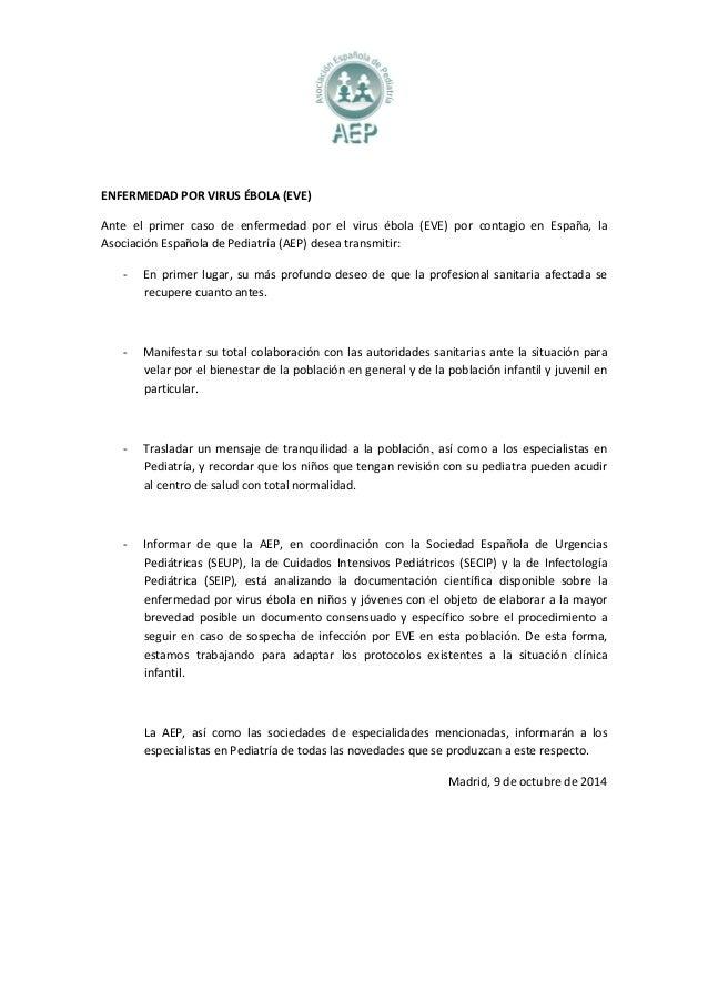 ENFERMEDAD POR VIRUS ÉBOLA (EVE)  Ante el primer caso de enfermedad por el virus ébola (EVE) por contagio en España, la  A...