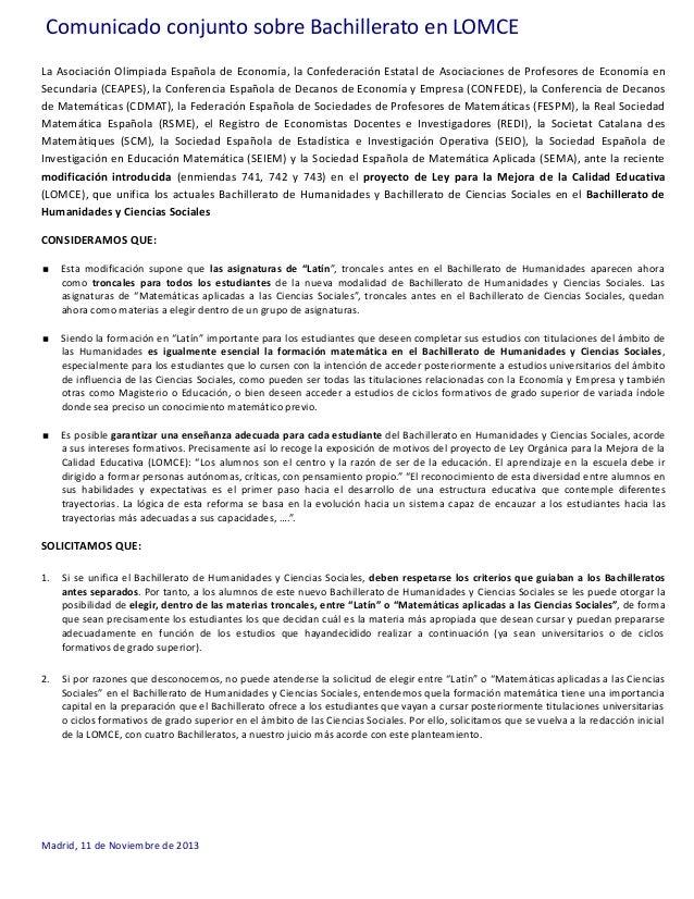 Comunicado conjunto sobre Bachillerato en LOMCE La Asociación Olimpiada Española de Economía, la Confederación Estatal de ...