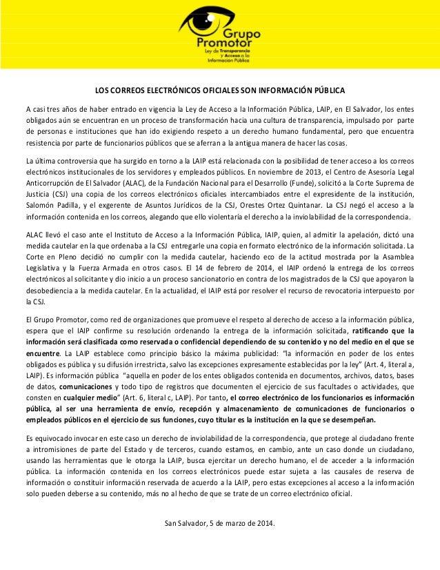 LOS CORREOS ELECTRÓNICOS OFICIALES SON INFORMACIÓN PÚBLICA A casi tres años de haber entrado en vigencia la Ley de Acceso ...