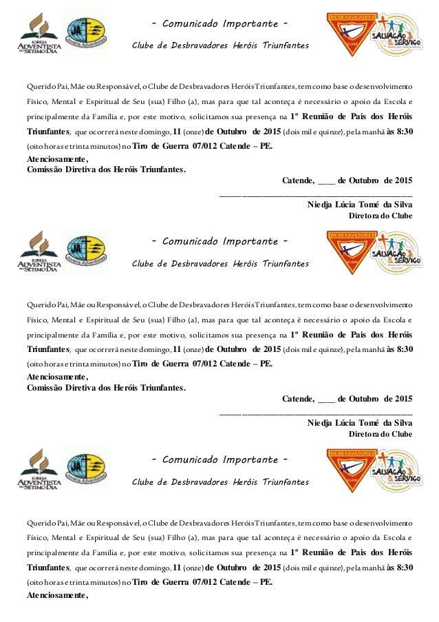 - Comunicado Importante - Clube de Desbravadores Heróis Triunfantes QueridoPai,Mãe ouResponsável,oClubedeDesbravadoresHeró...