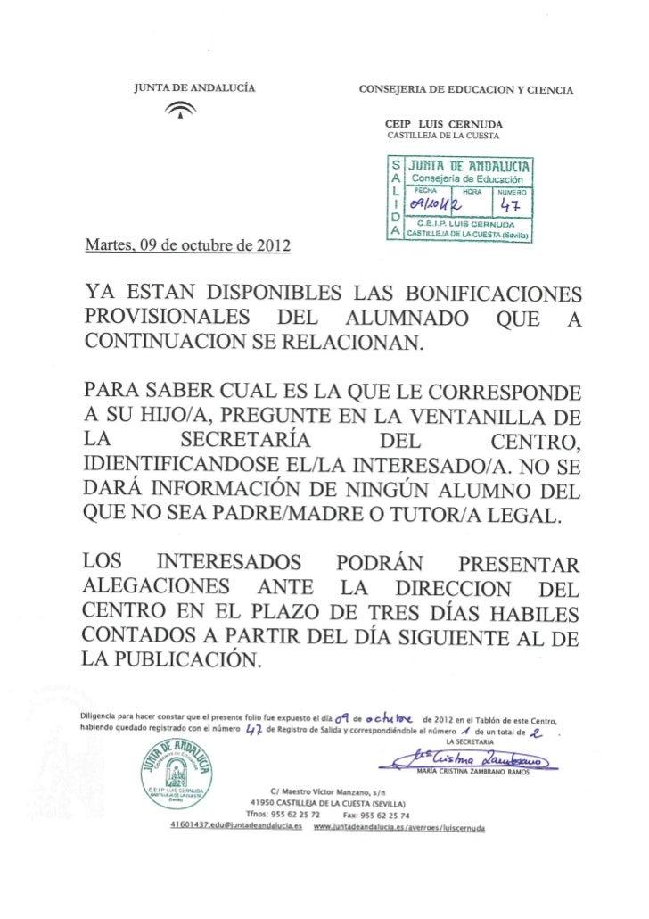 Comunicado listado provisional bonificaciones 09 10-12