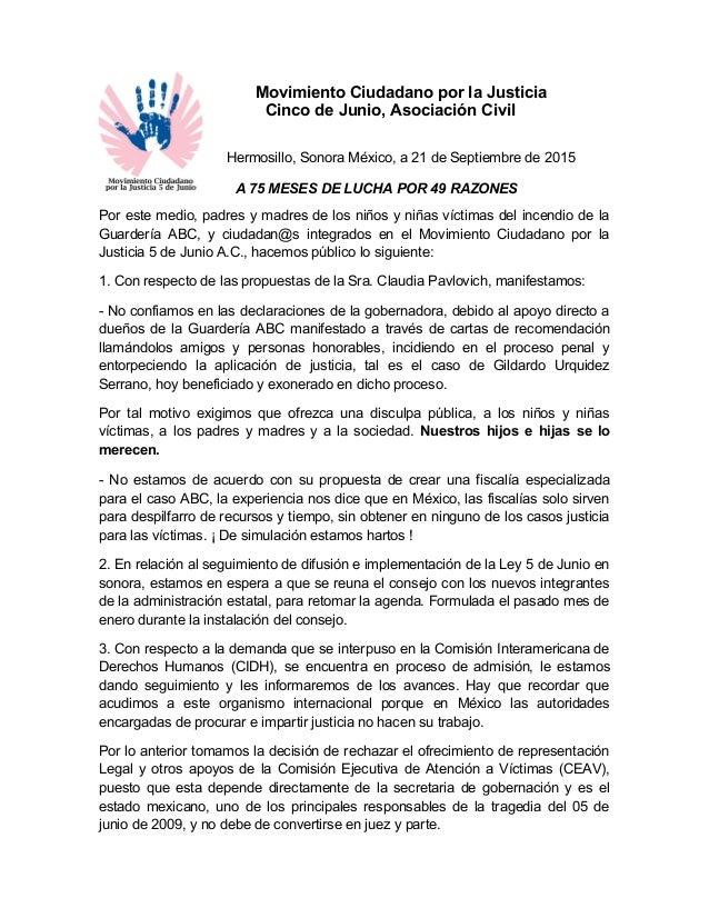 Movimiento Ciudadano por la Justicia Cinco de Junio, Asociación Civil Hermosillo, Sonora México, a 21 de Septiembre de 201...