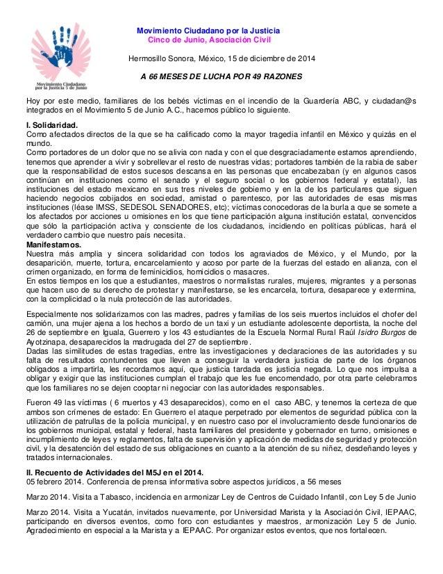 Movimiento Ciudadano por la Justicia  Cinco de Junio, Asociación Civil  Hermosillo Sonora, México, 15 de diciembre de 2014...
