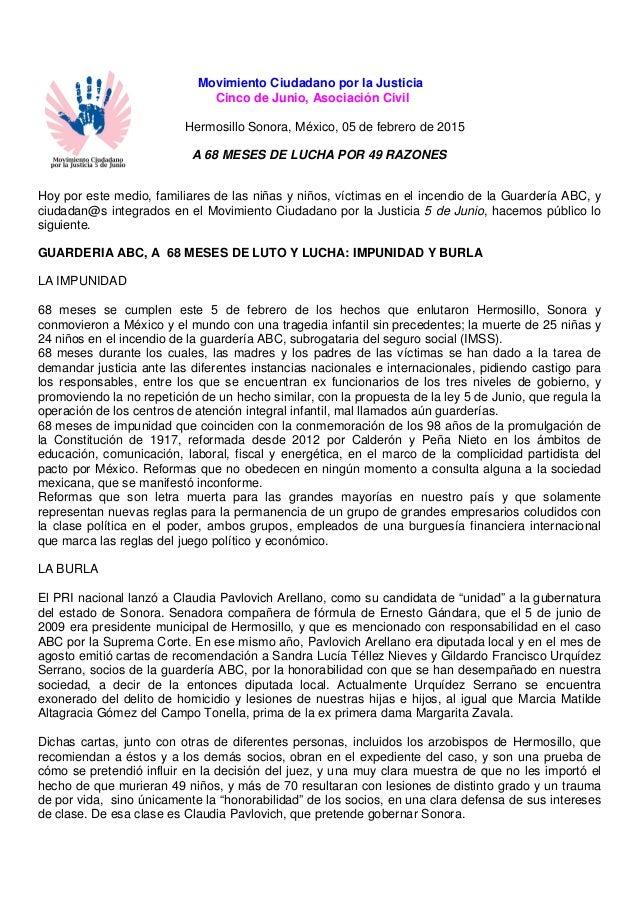 Movimiento Ciudadano por la Justicia Cinco de Junio, Asociación Civil Hermosillo Sonora, México, 05 de febrero de 2015 A 6...