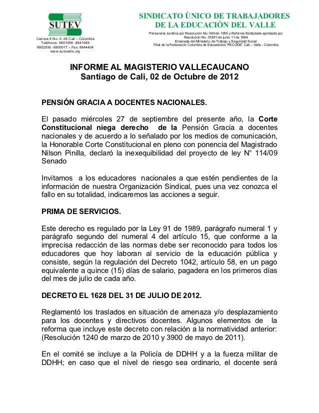 SINDICATO ÙNICO DE TRABAJADORES                                          DE LA EDUCACIÒN DEL VALLE                        ...