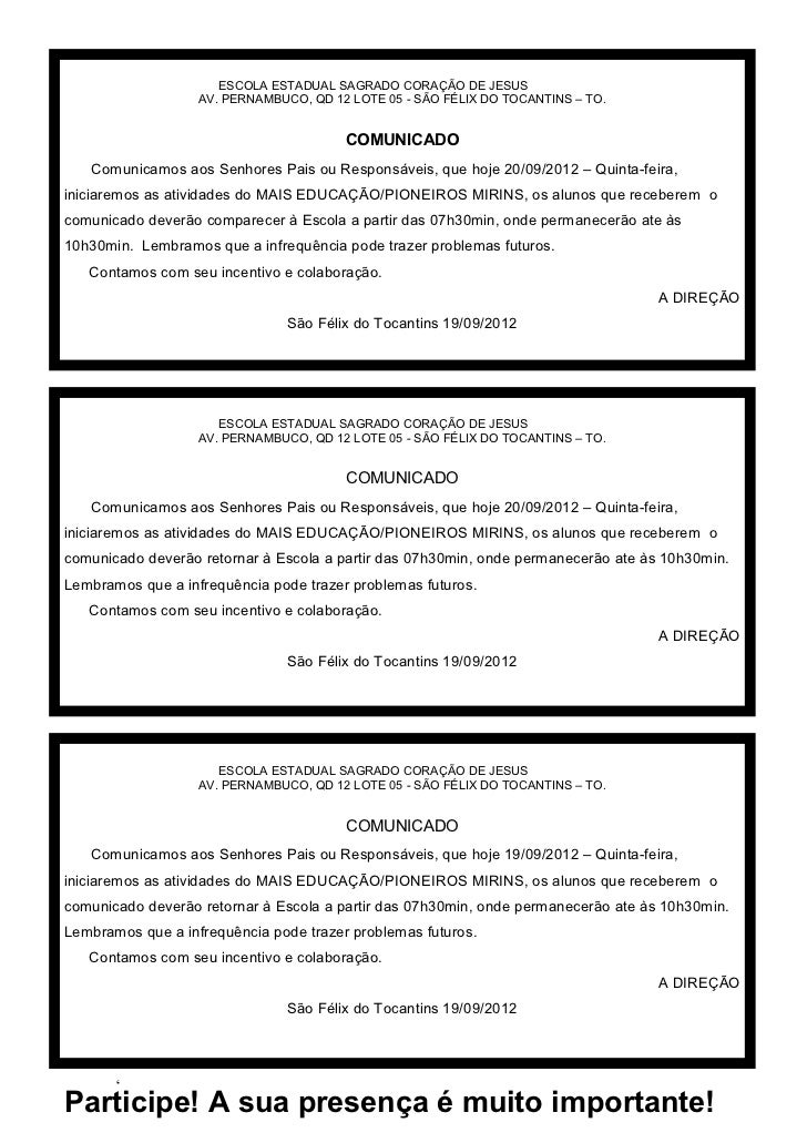 ESCOLA ESTADUAL SAGRADO CORAÇÃO DE JESUS                   AV. PERNAMBUCO, QD 12 LOTE 05 - SÃO FÉLIX DO TOCANTINS – TO.   ...