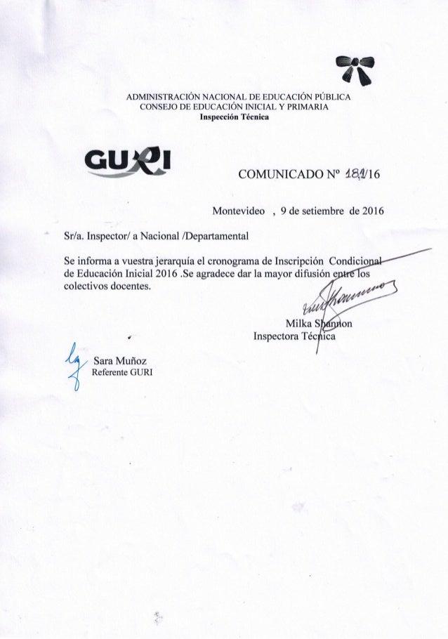 Comunicado nº 181 inscrip.condic. educ. inicial 2016