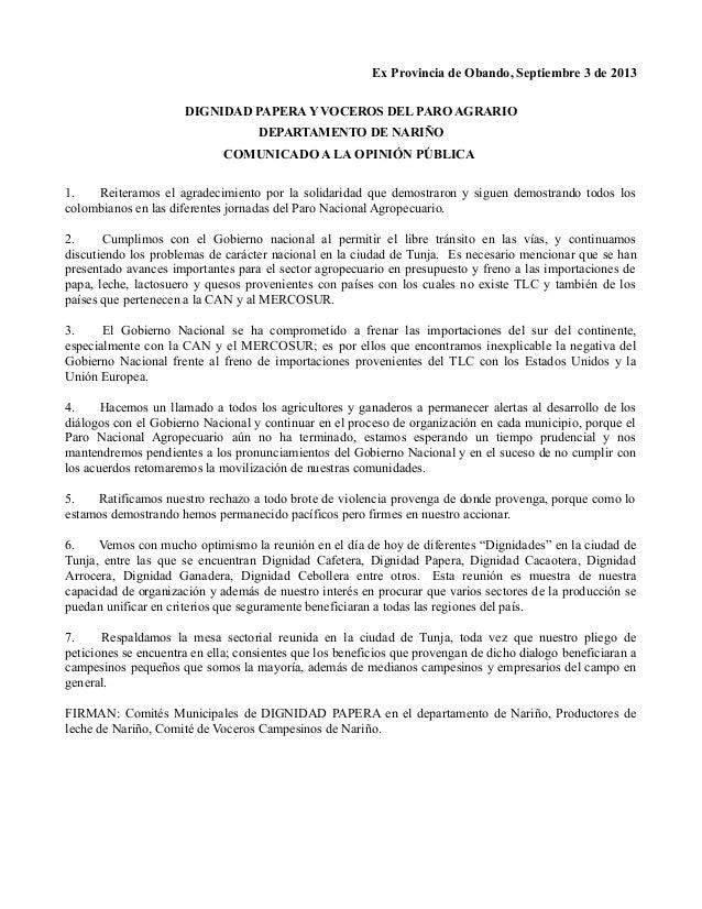 Ex Provincia de Obando, Septiembre 3 de 2013 DIGNIDAD PAPERA Y VOCEROS DEL PARO AGRARIO DEPARTAMENTO DE NARIÑO COMUNICADO ...