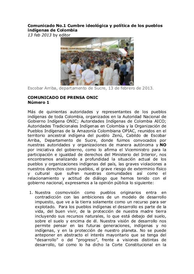 Comunicado No.1 Cumbre ideológica y política de los pueblosindígenas de Colombia13 feb 2013 by editorEscobar Arriba, depar...