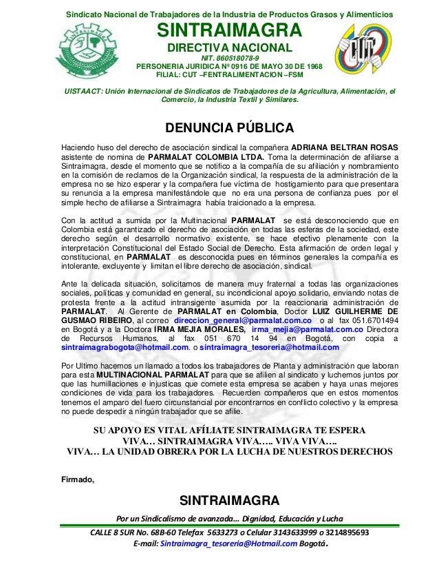 Sindicato Nacional de Trabajadores de la Industria de Productos Grasos y Alimenticios SINTRAIMAGRA DIRECTIVA NACIONAL NIT....