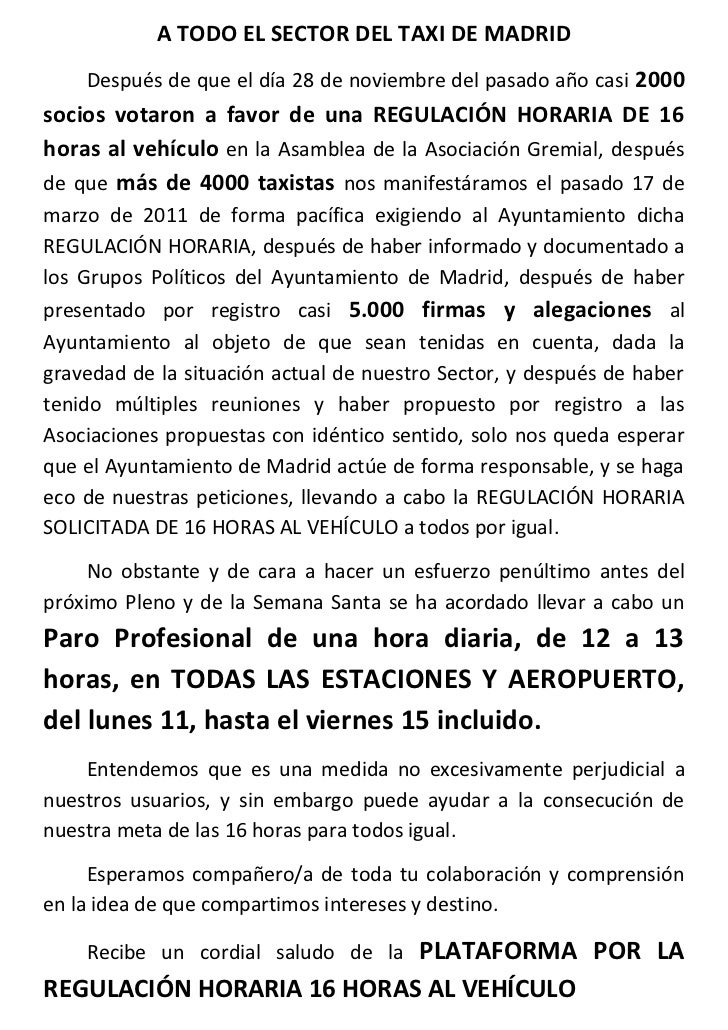 A TODO EL SECTOR DEL TAXI DE MADRID    Después de que el día 28 de noviembre del pasado año casi 2000socios votaron a favo...