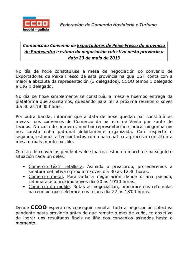 Federación de Comercio Hostalería e TurismoComunicado Convenio de Exportadores de Peixe Fresco da provinciade Pontevedra e...