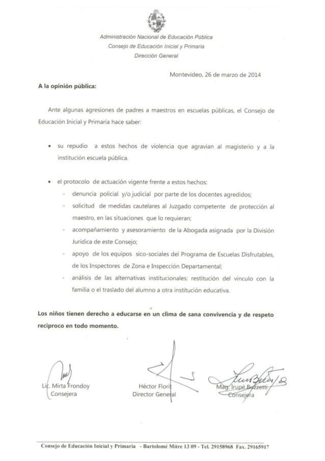 Administración Nacional de Educación Pública Consejo de Educación inicial y Primaria  Dirección General  Montevideo,  26 d...