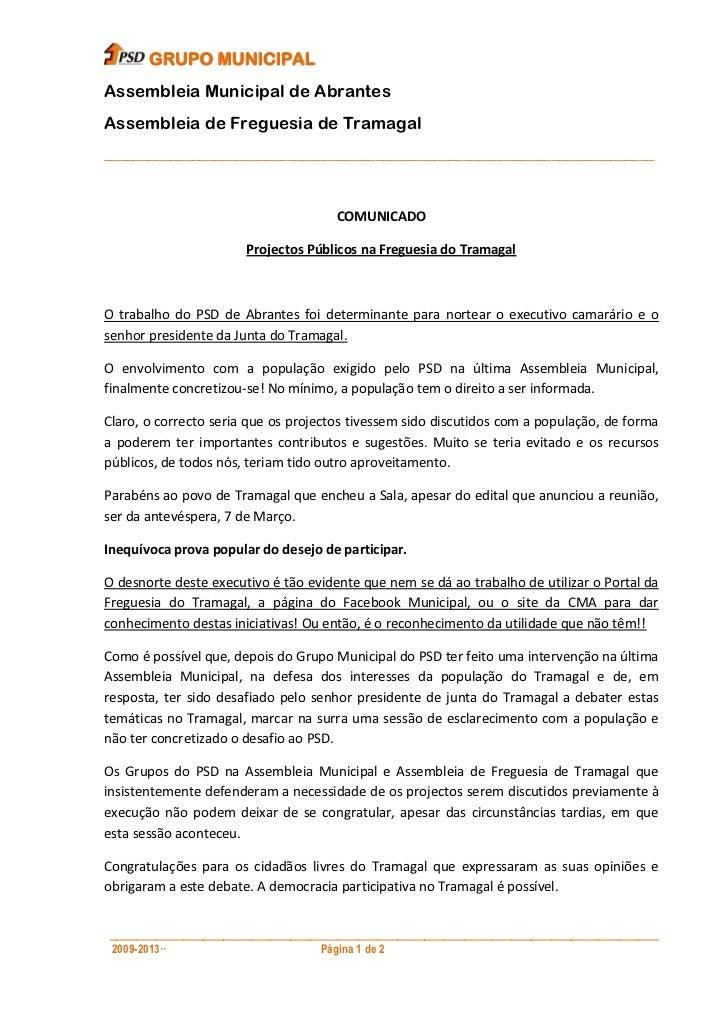 GRUPO MUNICIPALAssembleia Municipal de AbrantesAssembleia de Freguesia de Tramagal________________________________________...