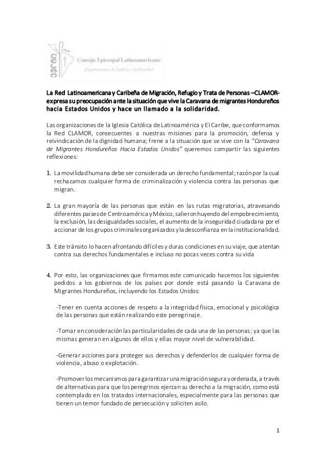 1 La Red Latinoamericana y Caribeña de Migración, Refugio y Trata de Personas –CLAMOR- expresa su preocupación ante la sit...