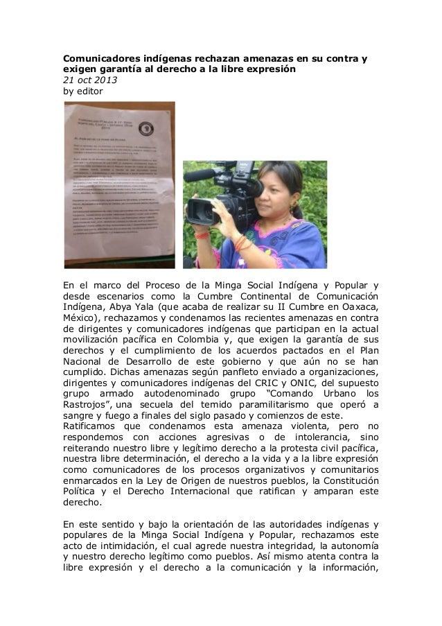 Comunicadores indígenas rechazan amenazas en su contra y exigen garantía al derecho a la libre expresión 21 oct 2013 by ed...