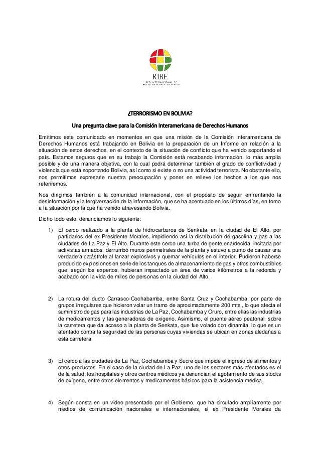 ¿TERRORISMO EN BOLIVIA? Una pregunta clave para la Comisión Interamericana de Derechos Humanos Emitimos este comunicado en...