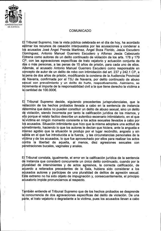 Comunicado del Supremo sobre La Manada