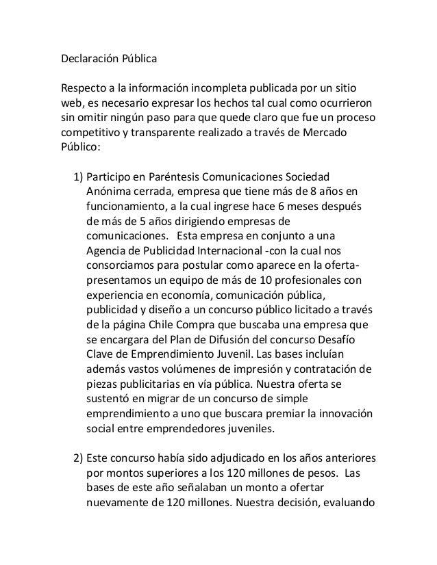 Declaración Pública Respecto a la información incompleta publicada por un sitio web, es necesario expresar los hechos tal ...