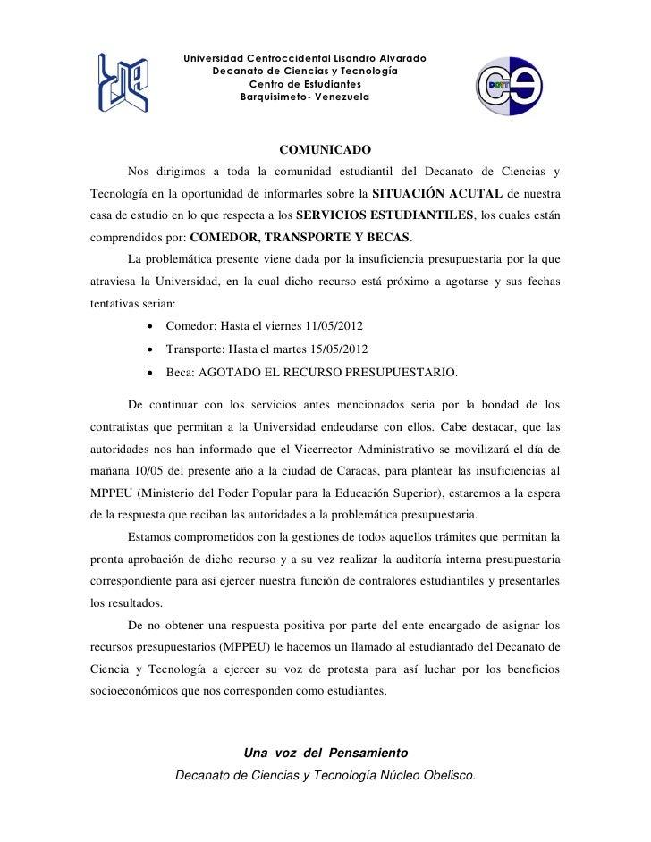 Universidad Centroccidental Lisandro Alvarado                          Decanato de Ciencias y Tecnología                  ...