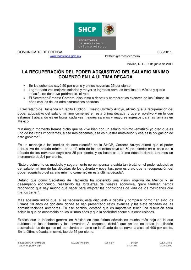 COMUNICADO DE PRENSA                                                                           068/2011                   ...