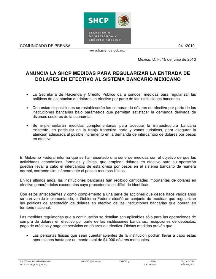 COMUNICADO DE PRENSA                                                                           041/2010                   ...