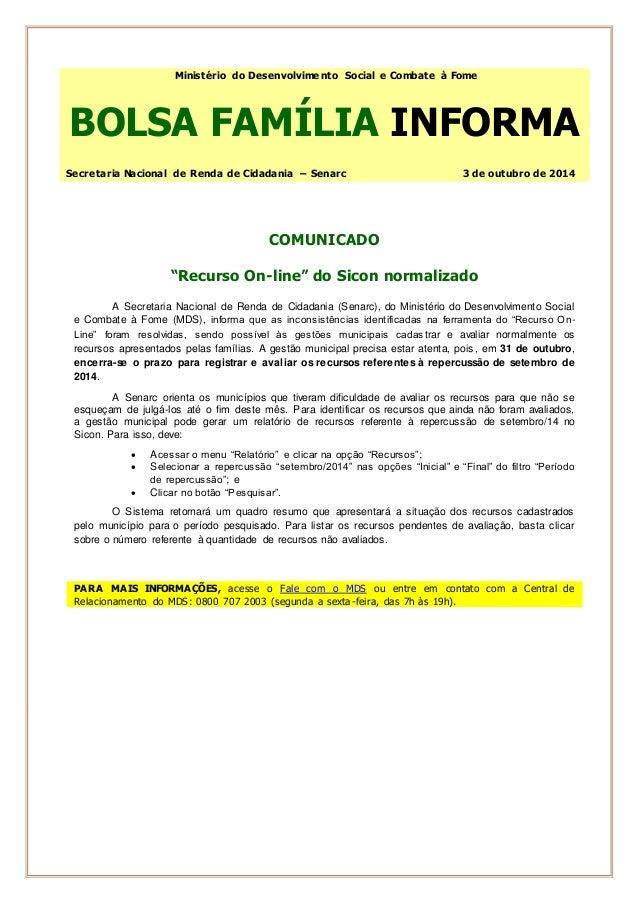 Ministério do Desenvolvimento Social e Combate à Fome  BOLSA FAMÍLIA INFORMA  Secretaria Nacional de Renda de Cidadania – ...