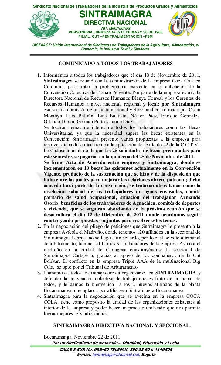 Sindicato Nacional de Trabajadores de la Industria de Productos Grasos y Alimenticios                          SINTRAIMAGR...
