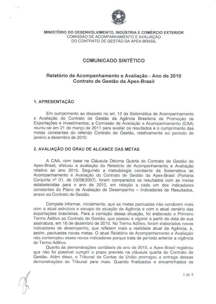 Comunicado Sintético - Relatório Contrato de Gestão 2010