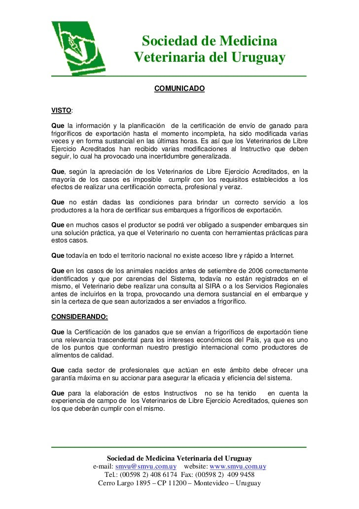 Sociedad de Medicina                             Veterinaria del Uruguay                                    COMUNICADOVIST...