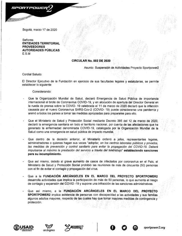 Comunicado Suspensión actividades SportPower2