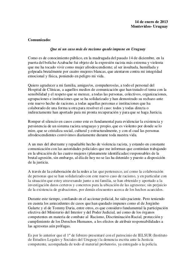 14 de enero de 2013                                                                  Montevideo- UruguayComunicado:       ...
