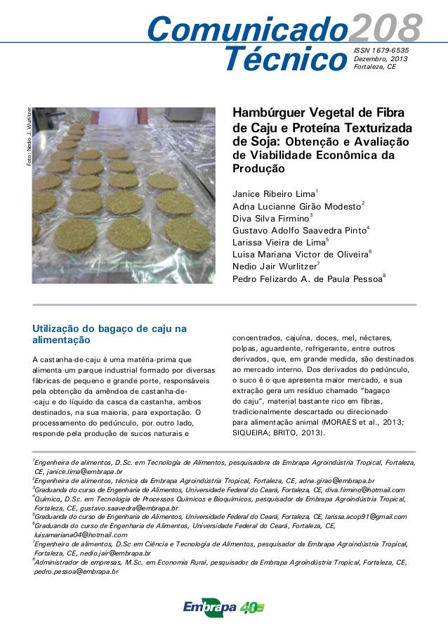 Comunicado2 08  ISSN 1679-6535  Dezembro, 2013  Fortaleza, CE  Técnico  Hambúrguer Vegetal de Fibra  de Caju e Proteína Te...