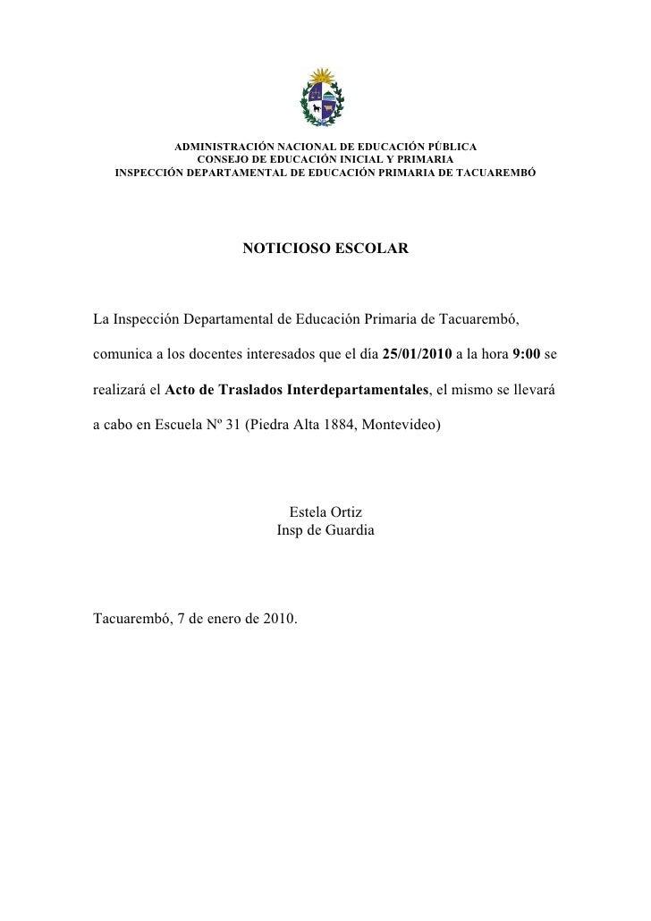 ADMINISTRACIÓN NACIONAL DE EDUCACIÓN PÚBLICA                CONSEJO DE EDUCACIÓN INICIAL Y PRIMARIA    INSPECCIÓN DEPARTAM...
