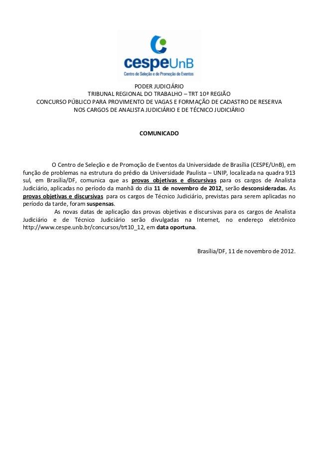 PODER JUDICIÁRIO                    TRIBUNAL REGIONAL DO TRABALHO – TRT 10ª REGIÃO     CONCURSO PÚBLICO PARA PROVIMENTO DE...