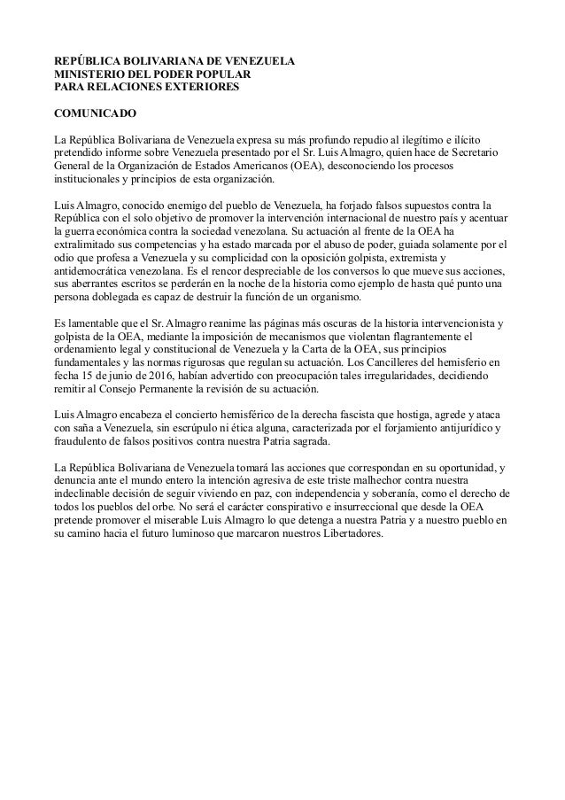 Venezuela rechaza informe injerencista de Luis Almagro Comunicado-venezuela-contra-injerencia-de-luis-almagro-1-638
