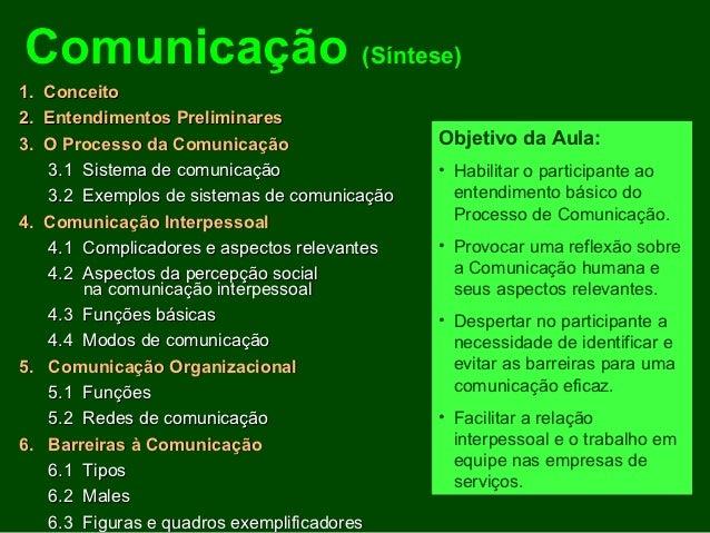 Comunicação (Síntese)1. Conceito2. Entendimentos Preliminares3. O Processo da Comunicação                 Objetivo da Aula...