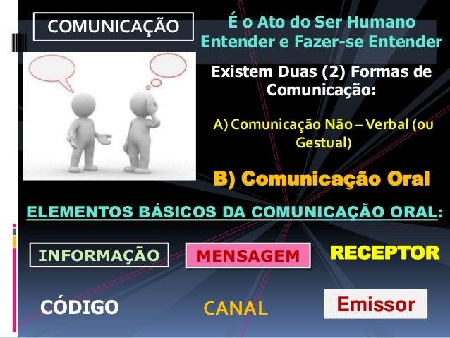 COMUNICAÇÃO É o Ato do Ser Humano Entender e Fazer-se Entender ELEMENTOS BÁSICOS DA COMUNICAÇÃO ORAL: EmissorCANAL INFORMA...