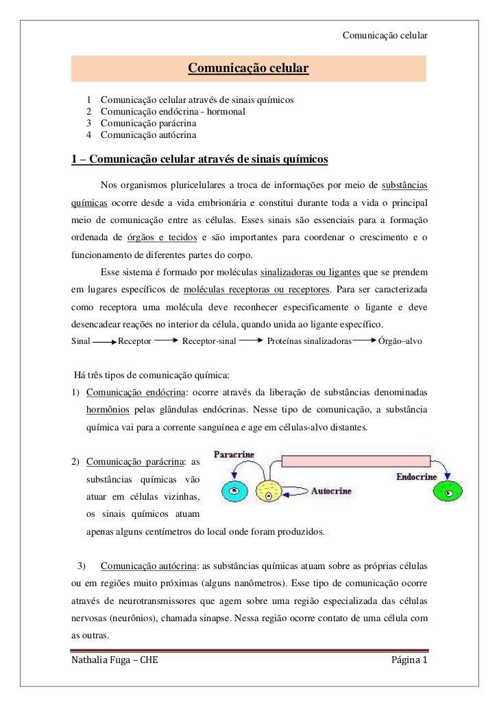 Comunicação celular                               Comunicação celular      1   Comunicação celular através de sinais quími...