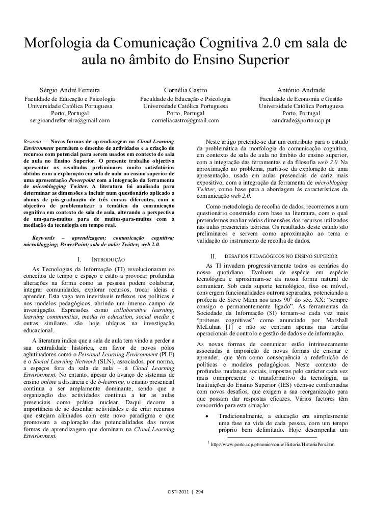 Morfologia da Comunicação Cognitiva 2.0 em sala de        aula no âmbito do Ensino Superior      Sérgio André Ferreira    ...