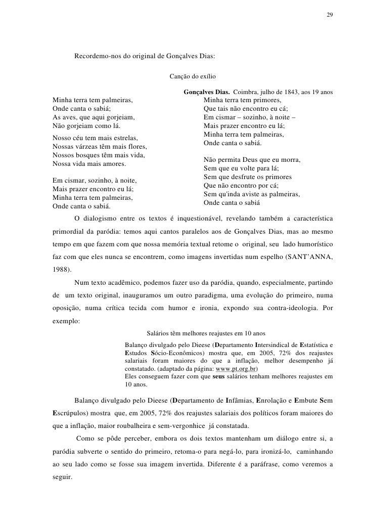 29          Recordemo-nos do original de Gonçalves Dias:                                        Canção do exílio          ...