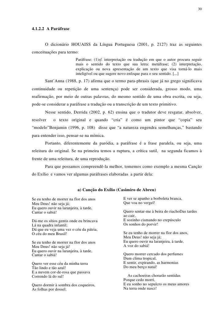 304.1.2.2 A Paráfrase       O dicionário HOUAISS da Língua Portuguesa (2001, p. 2127) traz as seguintesconceituações para ...